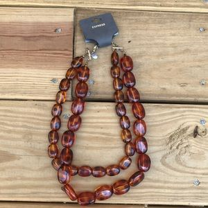 Express Double Strand Brown Beaded Necklace